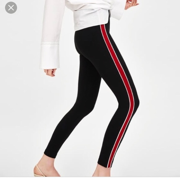 2ae0ed881 Zara Pants | Leggings Red And White Stripe | Poshmark